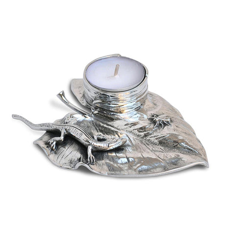 Art Nouveau-Style Lucertola Tea Light Holder - Lizard - 13 cm  - Handcrafted in Italy - Pewter/Britannia Metal