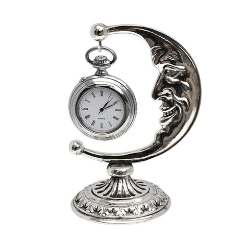 Art Nouveau-Style Luna Pocket Watch Stand - 8.5 cm - Handcrafted in Italy - Britannia Metal/Pewter