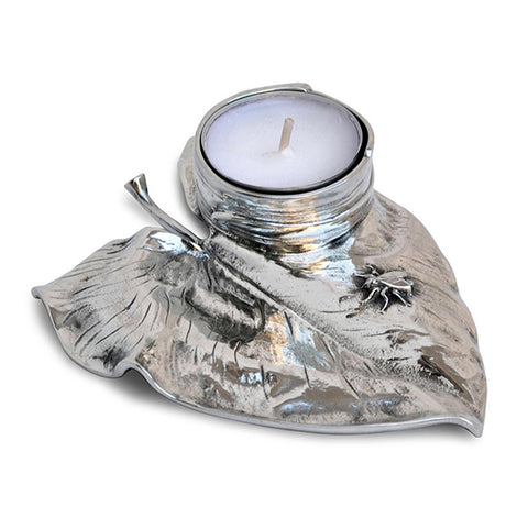 Art Nouveau-Style Ninfea Tea Light Holder - Lily - 13 cm  - Handcrafted in Italy - Pewter/Britannia Metal