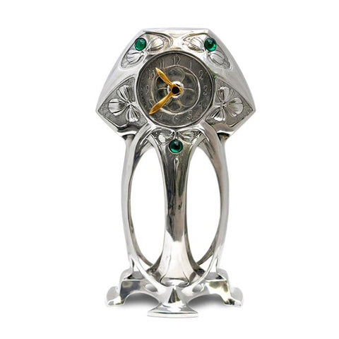 Art Nouveau-Style Art Deco Table Clock (Brass Hands) - 20 cm - Handcrafted in Italy - Britannia Metal/Pewter