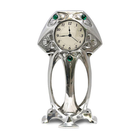 Art Nouveau-Style Art Deco Table Clock (White Face) - 20 cm - Handcrafted in Italy - Britannia Metal/Pewter