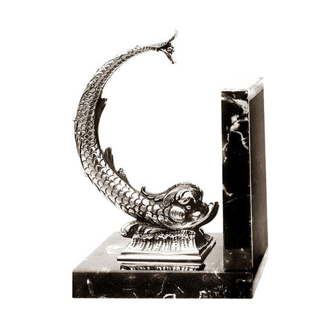 Art Nouveau-Style Pesce Bookend (Fish) - 19 cm - Handcrafted in Italy - Pewter/Britannia Metal & Marble