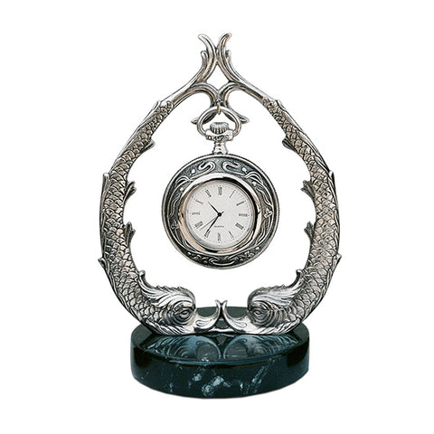 Art Nouveau-Style Pesce Fish Pocket Watch Stand - 18.5 cm - Handcrafted in Italy - Britannia Metal/Pewter