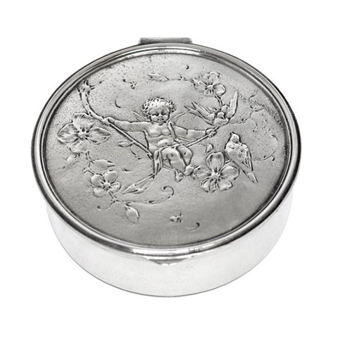 Art Nouveau-Style Putto Hinged Lidded Box (Cherub) - 10.5 cm Diameter - Handcrafted in Italy - Pewter/Britannia Metal