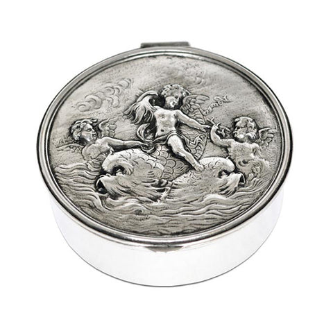 Art Nouveau-Style Putto Hinged Lidded Box (Cherubs) - 10.5 cm Diameter - Handcrafted in Italy - Pewter/Britannia Metal