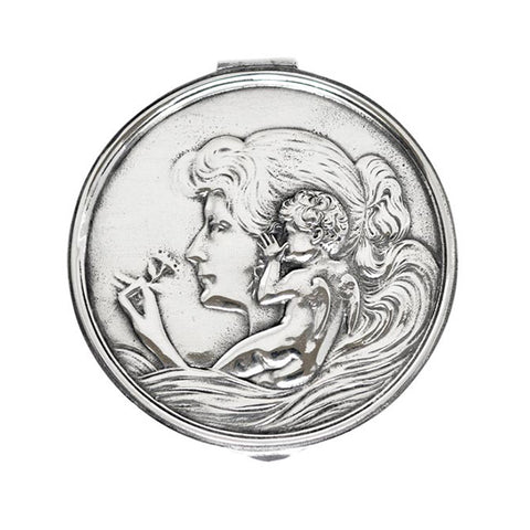Art Nouveau-Style Putto Hinged Lidded Box (Maiden) - 10.5 cm Diameter - Handcrafted in Italy - Pewter/Britannia Metal