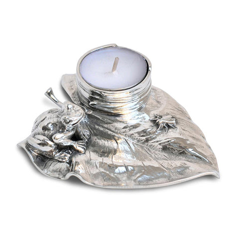 Art Nouveau-Style Rana Tea Light Holder - Sitting Frog - 13 cm  - Handcrafted in Italy - Pewter/Britannia Metal