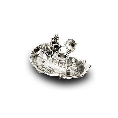 Art Nouveau-Style Rana Frog Inkwell - 23 cm - Handcrafted in Italy - Pewter/Britannia Metal