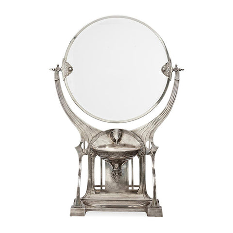 Art Nouveau-Style Secession Dressing Table Mirror - 77 cm Height - Handcrafted in Italy - Pewter/Britannia Metal