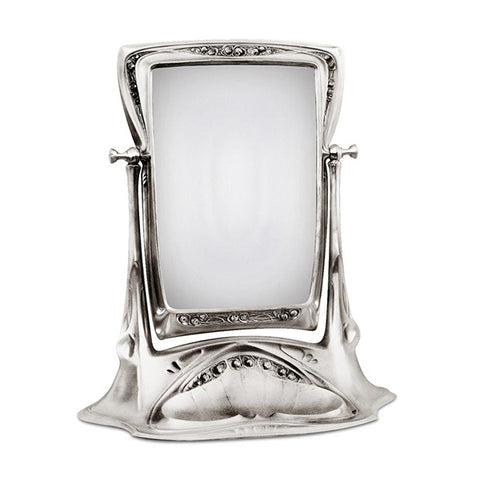 Art Nouveau-Style Secession Table Mirror - 51.5 cm Height - Handcrafted in Italy - Pewter/Britannia Metal