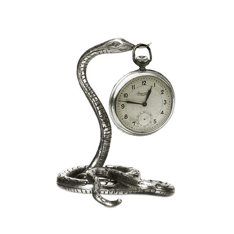 Art Nouveau-Style Serpente Snake Pocket Watch Stand - 9 cm - Handcrafted in Italy - Britannia Metal/Pewter