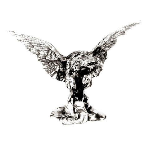 Art Nouveau-Style Aquila Sculpture - Eagle - 21 cm x 15 cm - Handcrafted in Italy - Pewter/Britannia Metal
