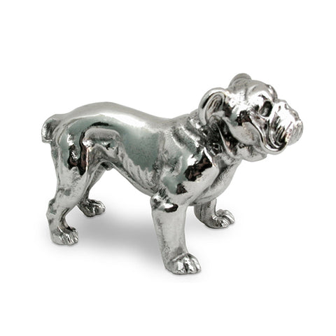 Art Nouveau-Style Cane Sculpture - Bulldog - 7.5 cm x 5 cm - Handcrafted in Italy - Pewter/Britannia Metal