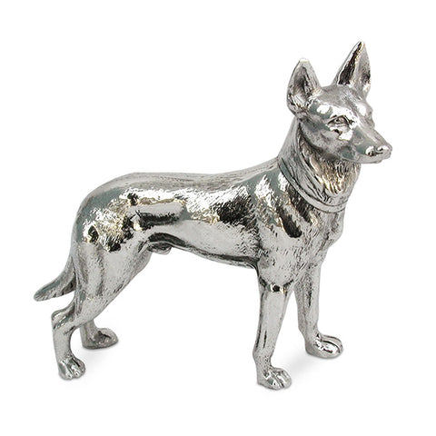 Art Nouveau-Style Cane Sculpture - German Shepherd - 12 cm x 10 cm - Handcrafted in Italy - Pewter/Britannia Metal