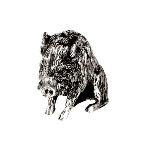Art Nouveau-Style Cinghiale Sculpture - Boar - 12 cm x 8 cm - Handcrafted in Italy - Pewter/Britannia Metal
