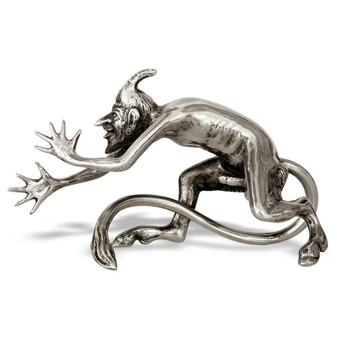 Art Nouveau-Style Demon Sculpture - Endowed Devil - 13 cm - Handcrafted in Italy - Pewter/Britannia Metal