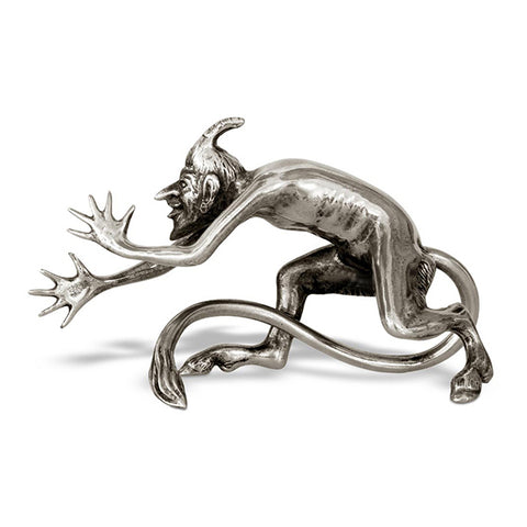 Art Nouveau-Style Demon Sculpture - Devil - 13 cm - Handcrafted in Italy - Pewter/Britannia Metal