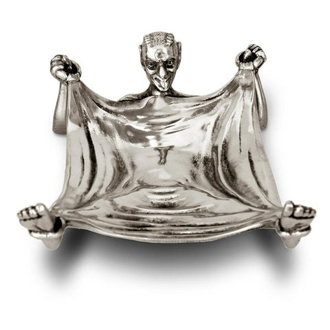 Art Nouveau-Style Demon Devil Pocket Tray - 16 cm x 10 cm - Handcrafted in Italy - Pewter/Britannia Metal
