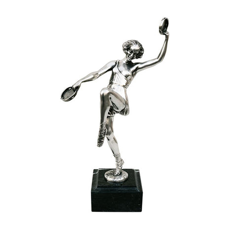 Art Nouveau-Style Donna Sculpture - Dancer - 28 cm - Handcrafted in Italy - Pewter/Britannia Metal