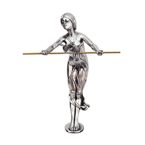 Art Nouveau-Style Donna Sculpture - Lady with Pole - 17.5 cm - Handcrafted in Italy - Pewter/Britannia Metal