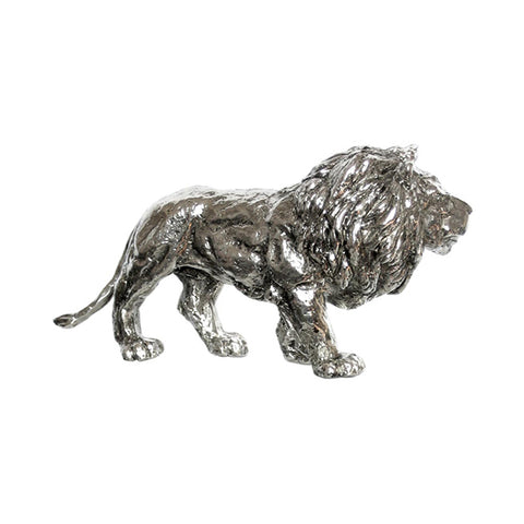 Art Nouveau-Style Leone Sculpture - Lion - 17 cm x 8.5 cm - Handcrafted in Italy - Pewter/Britannia Metal