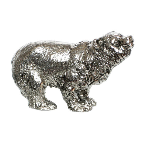 Art Nouveau-Style Orso Sculpture - Bear - 9.5 cm x 6 cm - Handcrafted in Italy - Pewter/Britannia Metal