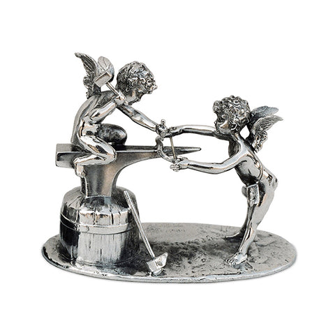 Art Nouveau-Style Putto Sculpture - Angel Craftsmen - 12 cm x 10 cm - Handcrafted in Italy - Pewter/Britannia Metal