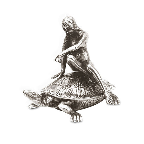 Art Nouveau-Style Tartaruga Turtle Hinged Lidded Box (Lady) - 13 cm - Handcrafted in Italy - Pewter/Britannia Metal