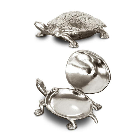 Art Nouveau-Style Testudo Turtle Hinged Lidded Box - 13 cm - Handcrafted in Italy - Pewter/Britannia Metal
