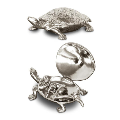 Art Nouveau-Style Testudo Turtle Hinged Lidded Box (Hidden Lady) - 13 cm - Handcrafted in Italy - Pewter/Britannia Metal
