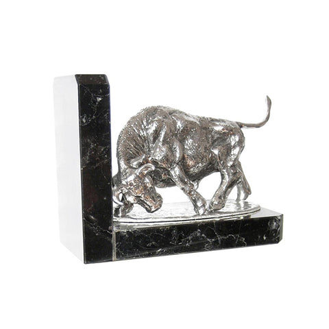 Art Nouveau-Style Toro Bookend (Bull) - 11.5 cm - Handcrafted in Italy - Pewter/Britannia Metal & Marble