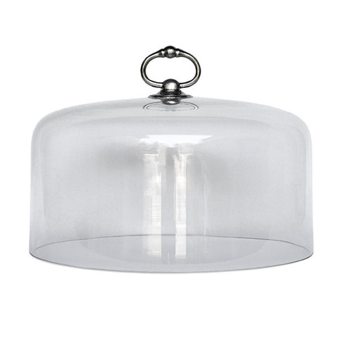 Loreto Cake & Cheese Cloche - 28 cm Diameter - Handcrafted in Italy - Pewter & Glass