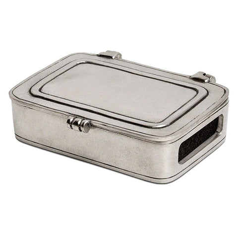 Laurus Lidded Match Box with striker- 9.5 cm x 6.5 cm - Handcrafted in Italy - Pewter