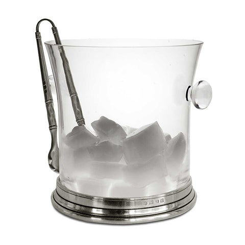 Sirmione Ice Bucket with handles - 18.5 cm Diameter - Handcrafted in Italy - Pewter & Crystal Glass