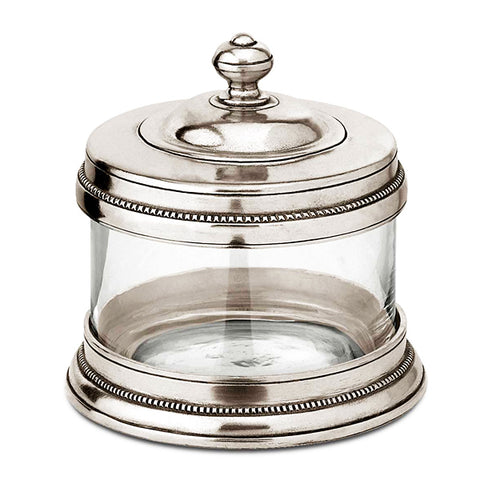 Toscana Vanity Storage Canister - 0.5 L - Handcrafted in Italy - Pewter & Glass