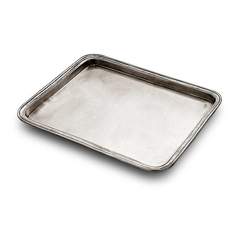 Umbria Rectangular Tray - 24 cm x 19.5 cm - Handcrafted in Italy - Pewter