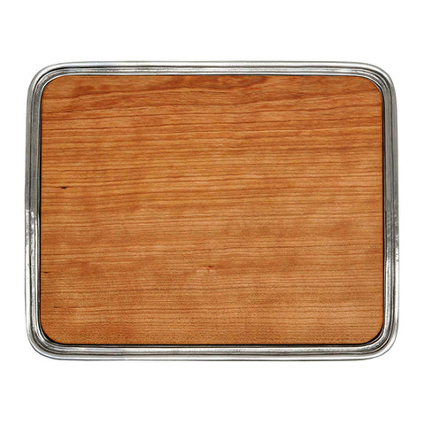 Umbria Rectangular Bar Tray with chopping board - 24 cm x 19.5 cm - Handcrafted in Italy - Pewter & Wood