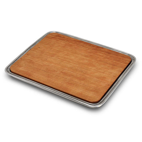 Umbria Rectangular Tray with chopping board - 24 cm x 19.5 cm - Handcrafted in Italy - Pewter & Wood