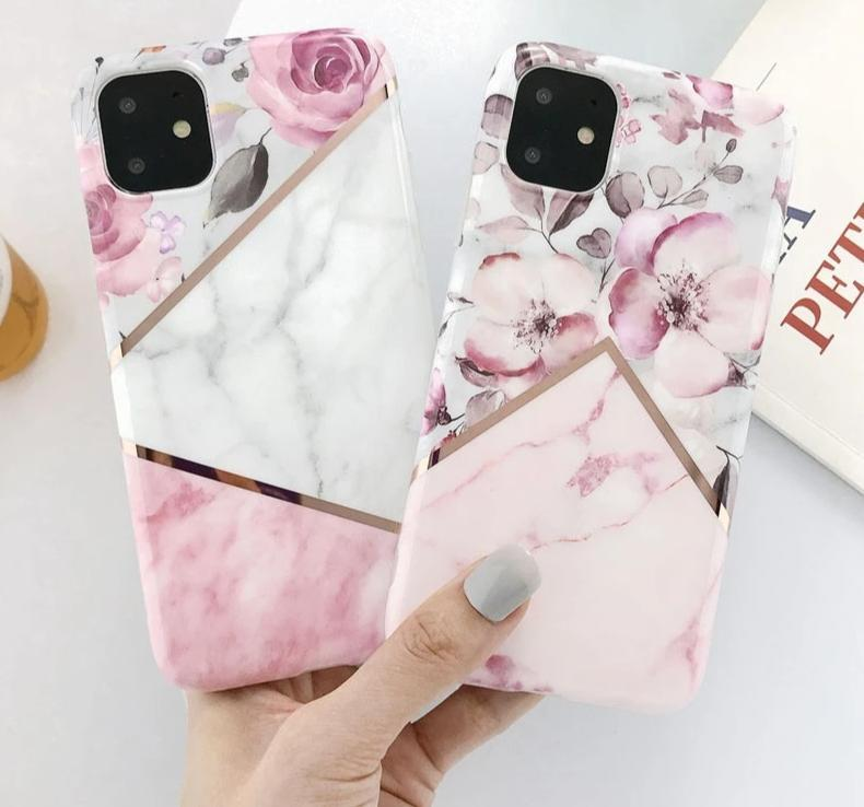 Coque iPhone <br> Marble Flower