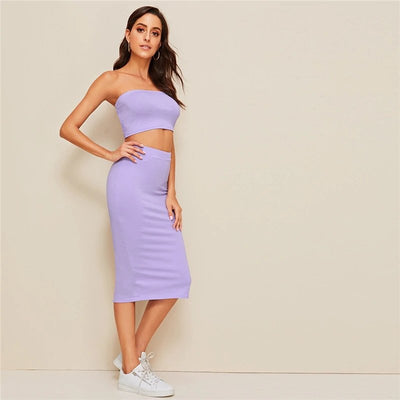Ensemble crop top et jupe - Violet pastel - Urban Vertigo