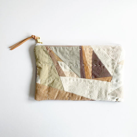 Hand-Dyed Beige Quilted Pouch