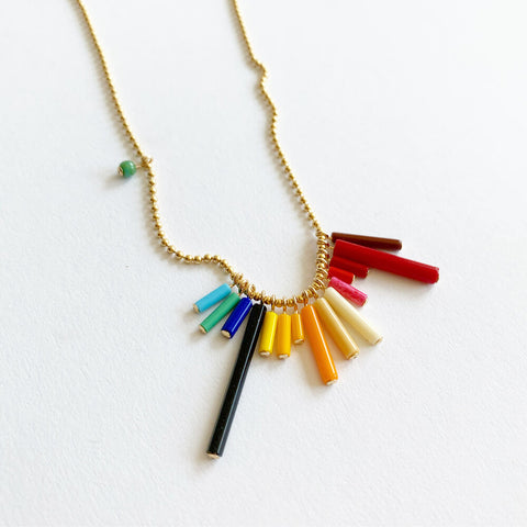 Ronni Kappos Rainbow Bugle Necklace