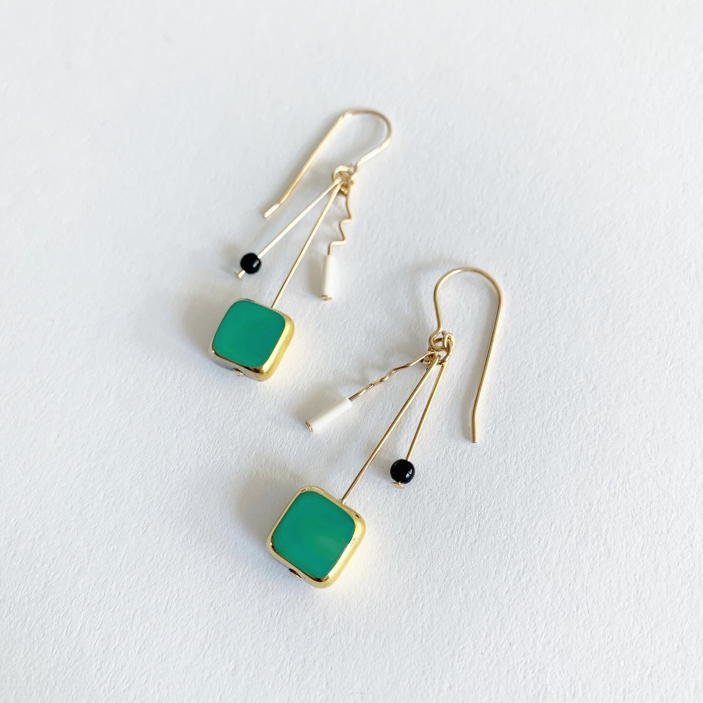 Ronni Kappos Green Squiggle Earrings