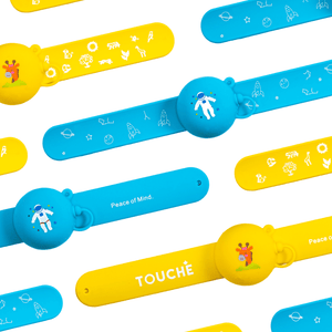 Touché Refillable Sanitizer Bracelet | Astro Blue or Safari Yellow.