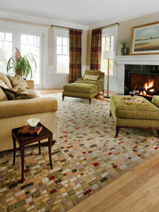 A contemporary rug fitting well with traditional furniture