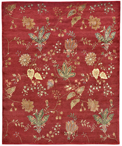Transitional oriental rug inspired by a fabric with a floral design