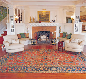 A room-size rug creates ambience for a room.