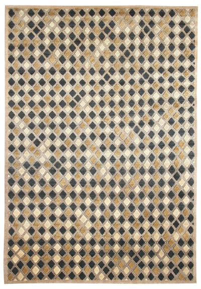A Tibetan rug based on an African textile design with a repetetive pattern.