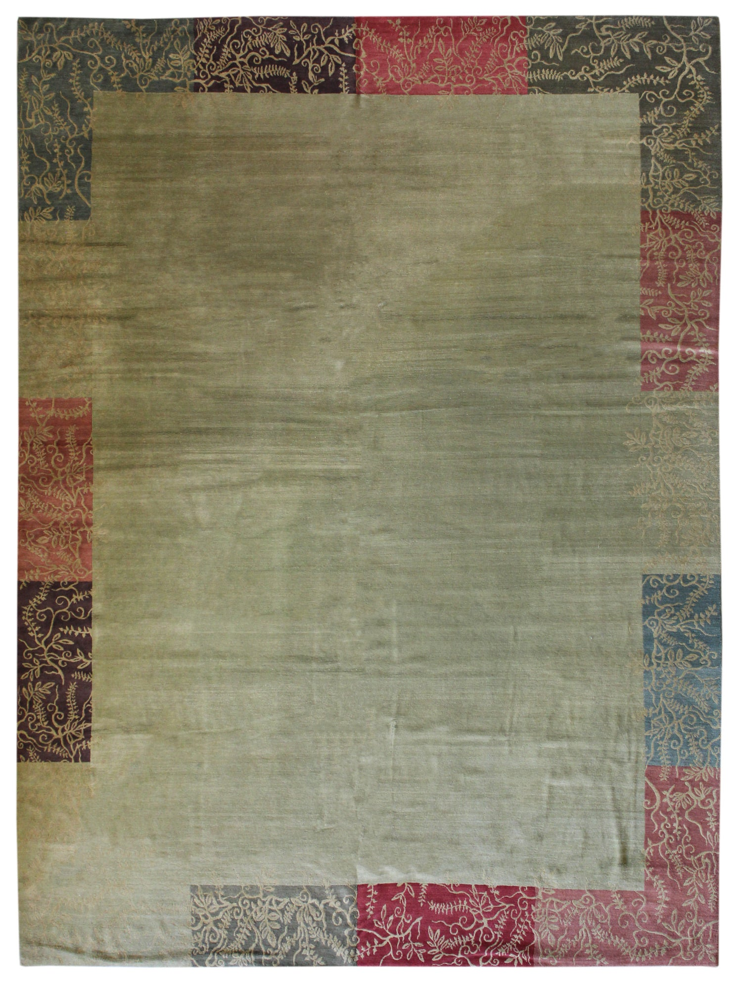 Tibetan Border Handwoven Contemporary Rug