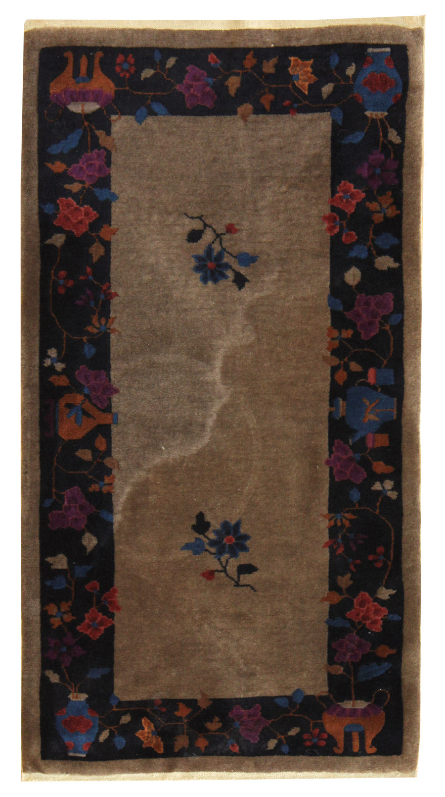 Antique Art Deco Handwoven Traditional Rug